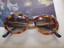 Vintage Lanvin Paris Tortoise Shell Oval Sunglasses w/ Gold Temples  774-61 400