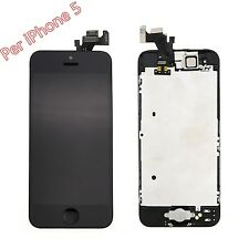 TOUCH SCREEN LCD DISPLAY RETINA  BUTTON PER APPLE IPHONE 5 NERO VETRO SCHERMO