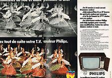 PUBLICITE ADVERTISING 104  1972  PHILIPS téléviseur couleur ( 2 pages)