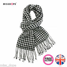 BLACK WHITE CHECK PLAID SCARF COTTON DOGTOOTH SHAWL PASHMINA WOMENS MENS UNI UK