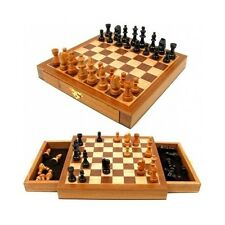 Wooden Chess Set Board Game Inlaid Wood Pieces Storage Box Staunton Hand Carved