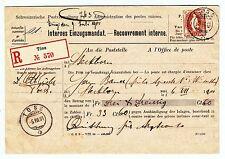 SCHWEIZ 1901  TÖSS INTERNES EINZUGSMANDAT