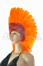 Orange feather sequins las vegas dancer showgirl headpiece headdress