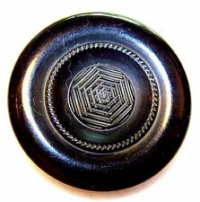 "Vintage Black CARVED Bakelite or Catlin Button w/Spider Web Design 1¾"" Diameter"