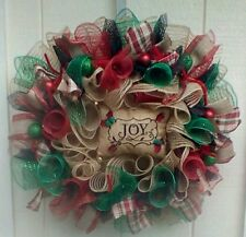 RUSTIC CHRISTMAS HOLIDAY WINTER  DECO MESH AND BURLAP  WREATH