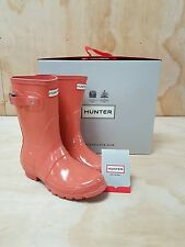 Hunter Wellies Original Short Wellington Boots Gloss Sunset Size 5 UK / 38 EU