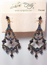 KIRKS FOLLY COUTURE PEARL AB CRYSTAL HEART CROWN CLIP EARRINGS GOLD TONE