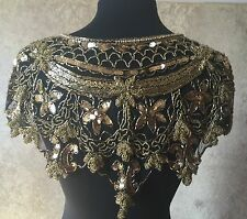 Sequin Beaded Lace Hip Wrap Collar Shoulder Shrug Shawl Applique Gold/Black