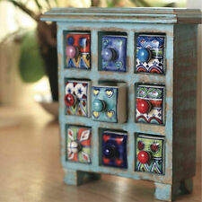 FAIR TRADE BLUE WOODEN STORAGE CHEST 9 CERAMIC DRAWERS SPICE TRINKET JEWELLERY