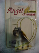 SCHNAUZER grey DOG ANGEL Ornament HAND PAINTED FIGURINE NEW puppy UNCROPPED NEW