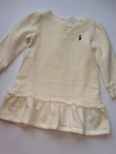 NWT Baby Girls Ralph Lauren Polo Fleece Pony Ruffled Dress 9M NEW Outfit