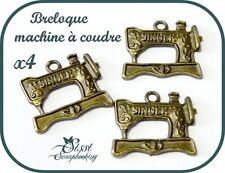 LOT 4 CHARMS BRELOQUE MACHINE A COUDRE VINTAGE RETRO BRONZE SINGER SCRAPBOOKING