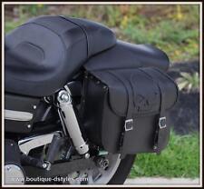 Sacoches cavaliéres en CuirTete de Mort SKULL - moto custom harley shadow virago