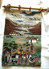 Latch Hook Rug Hanging Wall Art - Village Scene with Mountains