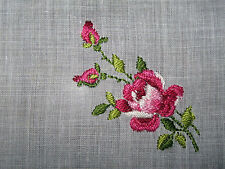 """Vintage White Linen Handkerchief Embroidered Floral Rose Red Pink 11""""  #H27"""