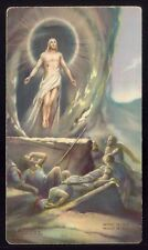 RISEN LORD Jesus Christ TOMB MIRACLE Ressurection. Old vintage HOLY CARD