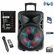 """beFree 12""""*BLUETOOTH*Portable KARAOKE PARTY PA DJ SPEAKER SYSTEM*with Lights&Mic"""