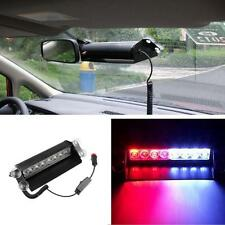 Car Truck Police Strobe Flash Light Dash Emergency 3 Flashing Mode Red/Blue 8LED
