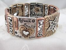 Gold Silver Copper Love Theme Stretch Bracelet Clear Rhinestone Jewelry NEW