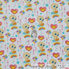 BonEful Fabric FQ Cotton Quilt Looney Tunes Flower Tweety Bird VTG Rainbow Heart