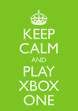 """Keep Calm and Play Xbox One""  Blank Greetings Birthday Card- A5 Green"