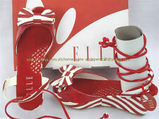 40% OFF! AUTH ELLE RED STRIPES WEDGE SANDALS SHOES SIZE 34 10-11 YO BNWT