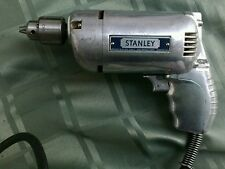 Vintage Antique Stanley Electric Metal Drill H41-A w/ Wooden Case, Drill Bits