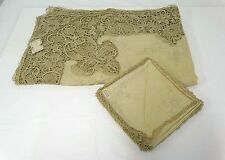 STUNNING Banquet Ecru Linen Needle Lace Tablecloth 68 x 104 12 Napkins Unused