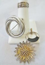 Antique Vintage Sterling Silver Jewelry-BB Circle Pin-TOPAZIO Filagree Pin-Ring