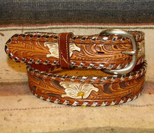 Vintage Tony Lama Whipstitch Sheridan Tooled Brown Leather Western Belt 34 New
