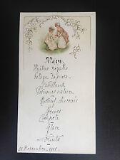 Ancien menu avec décor gaufré 1901
