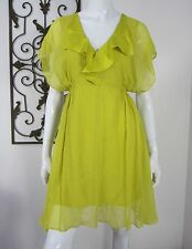 Max and Cleo 100% Silk Short Sleeve Dress Size M, Mustard Yellow