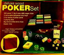 Deluxe Wood Poker Set 500 11.5 Grams Chips Brand New With High Gloss Wooden Case