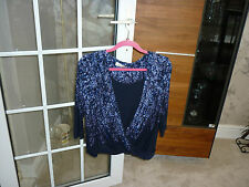 Per Una long sleeve top, navy mix with diamantes, size 12 UK, 40 EU, worn once