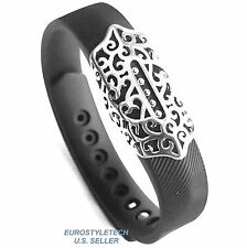 Metal Silver Stylish Cover Jewelry Ornament For Fitbit Flex 2 Band Wristband