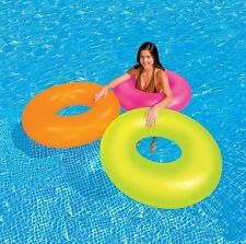 INTEX INFLATABLE NEON FROST TUBE SWIMMING POOL FLOATING RING PINK GREEN ORANGE