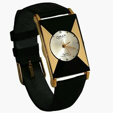 New Gold Black Dial Ladies Women Slim Bracelet Quartz Wrist Watch Club Gift