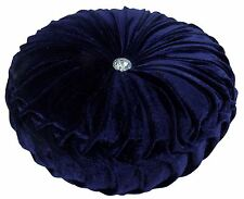 "NAVY BLUE LUXURIOUS THICK VELVET ROUND DEEP CRYSTAL PLEATED CUSHION 15"" - 38CM"