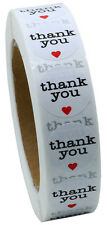 "NEW 1"" Inch Round Thank You Stickers with Red Heart Labels 1,000 Total Per Roll"