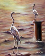 Original Oil Painting of Snowy Egret - Caught Any Fish?, 8x10in, Framed, Signed