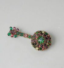 Vintage Hobe Robert Banjo Guitar Pin Brooch Multi Color Crystal Rhinestone #23