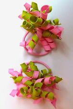 Gymboree Girls Hair Bobble/Hair Tie x 2 - Green and Pink, New (Ref G55)