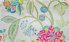 MANUEL CANOVAS DANA JACOBEAN EMBROIDERED LINEN FABRIC 10 YARDS HIBISCUS GREEN