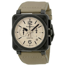 Bell and Ross Aviation Desert Type Beige Dial Chronograph Automatic Mens Watch