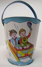 Old Tin Litho Carnival Ride Childs Sand Bucket Pail J Chein & Co made in USA
