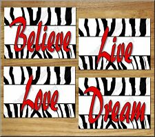 Red ZEBRA design Wall Art Decor Print Girl Teen Bedroom Love Live Believe Dream