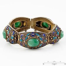 Antique Vintage Deco Sterling Silver Chinese Filigree Aventurine Enamel Bracelet