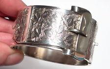 Hebilla de plata antigua victoriana Antique Victorian Mano Grabado impresionante Brazalete R & Co b'ham 1883