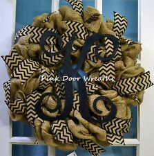Made to Order Wreath door SCROLL MONOGRAM Vine black burlap chevron mesh ribbons