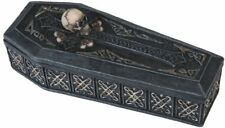 "6.5"" Skull on Top of Trinket Coffin Box Holy Death Santa Muerte Grim Reaper"